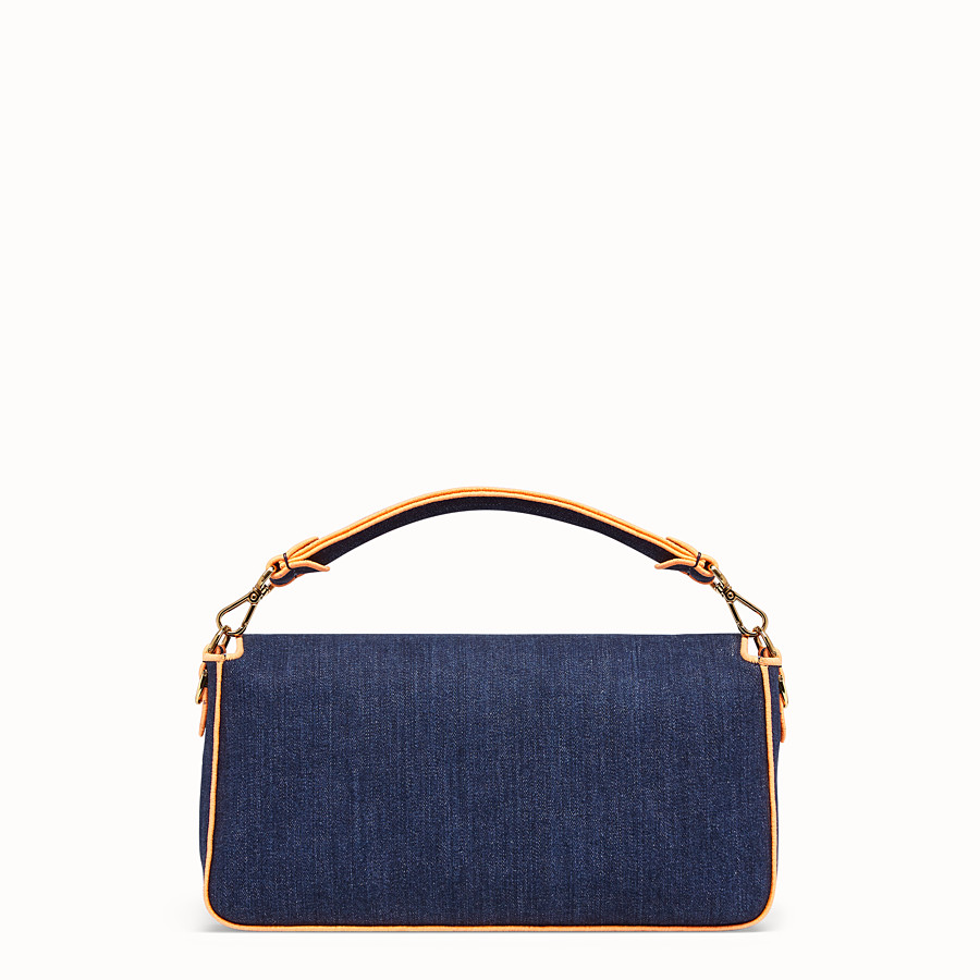 FENDI BAGUETTE LARGE - Blue denim bag - view 4 detail