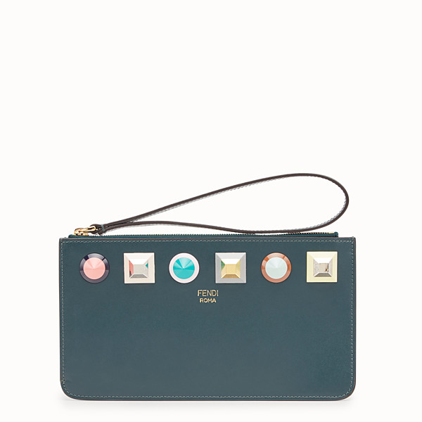 FENDI FLAT CLUTCH - Green leather slim pouch - view 1 small thumbnail