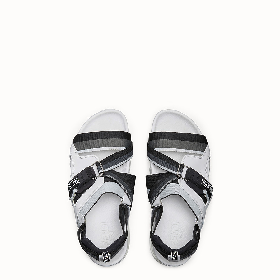 FENDI SANDALS - PU and white leather sandals - view 4 detail