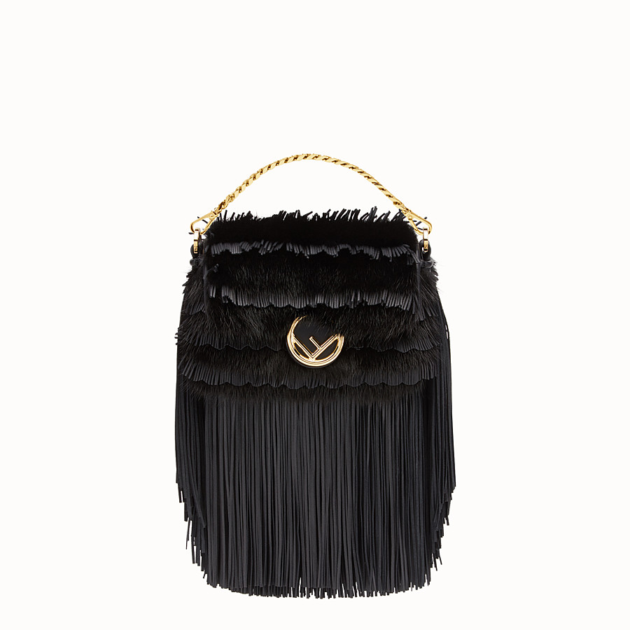 FENDI MICRO BAGUETTE - Micro-bag in black leather and mink - view 1 detail