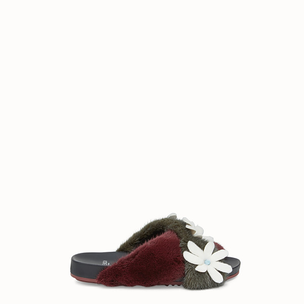 FENDI FLAT SANDALS - Multicolour mink and leather flats - view 1 small thumbnail