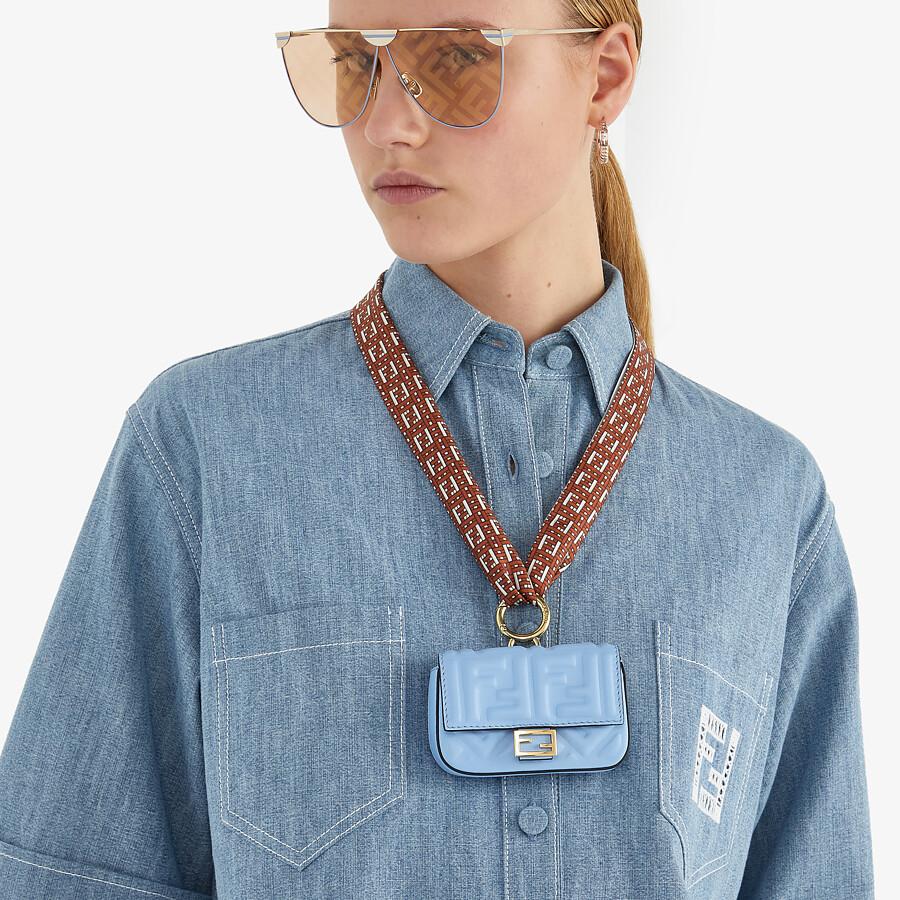 FENDI NANO BAGUETTE CHARM - Light blue nappa leather charm - view 5 detail