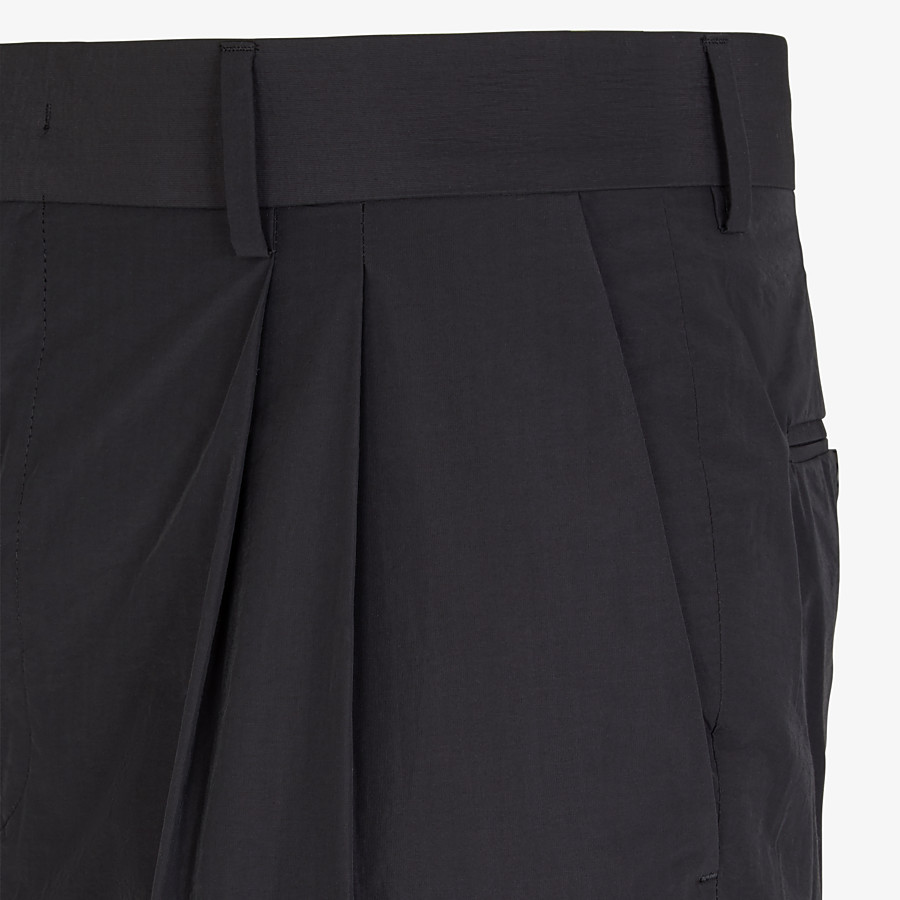 FENDI TROUSERS - Black nylon and cotton trousers - view 3 detail