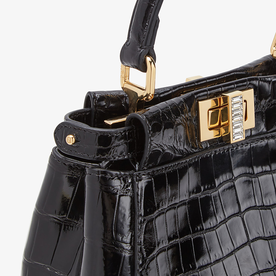 FENDI PEEKABOO ICONIC XS - Mini-bag in black crocodile - view 5 detail