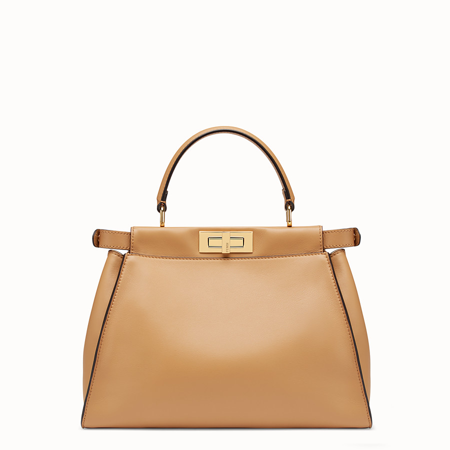 FENDI PEEKABOO REGULAR POCKET - Beige leather bag - view 3 detail