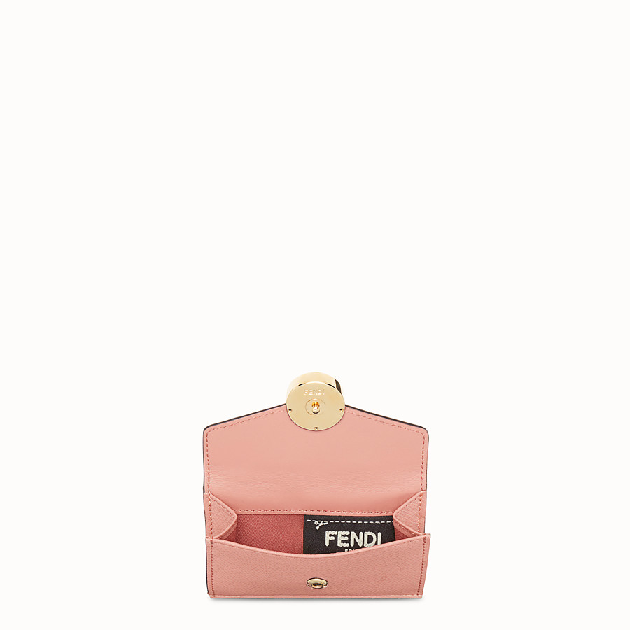 FENDI MICRO TRIFOLD - Pink leather wallet with exotic details - view 4 detail