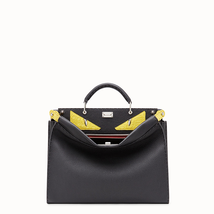 FENDI PEEKABOO FIT - Black Roman leather bag with exotic leather details - view 1 detail