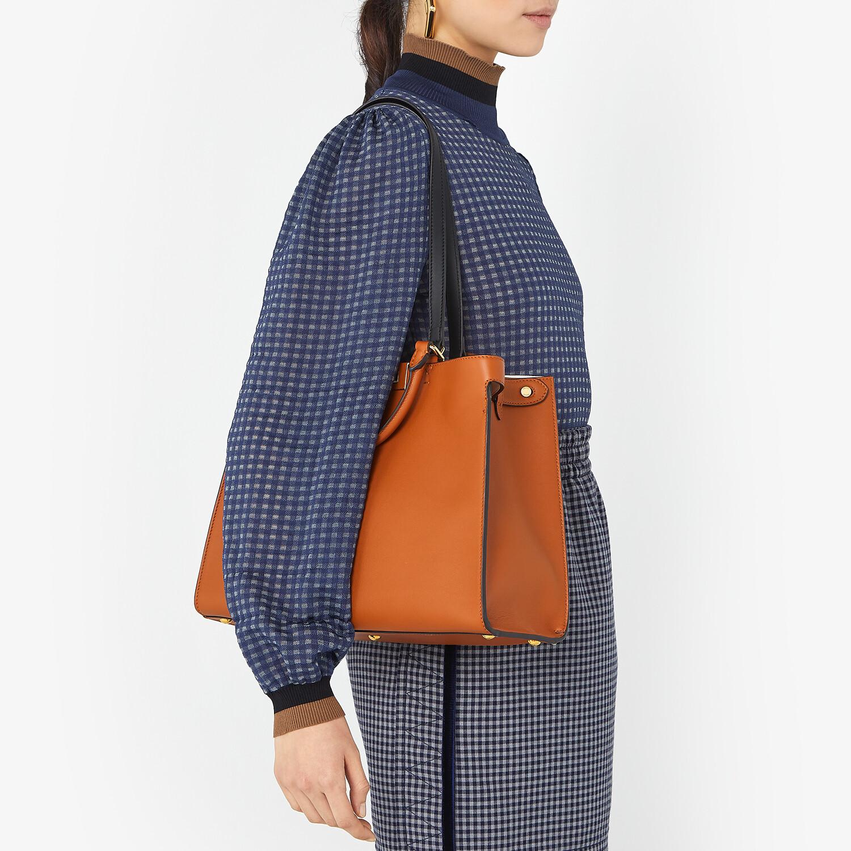 FENDI SMALL PEEKABOO X-TOTE -  Brown leather bag - view 2 detail