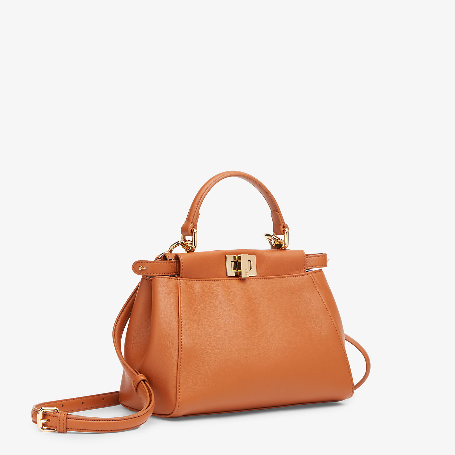 FENDI PEEKABOO ICONIC MINI - Brown nappa leather bag - view 3 detail