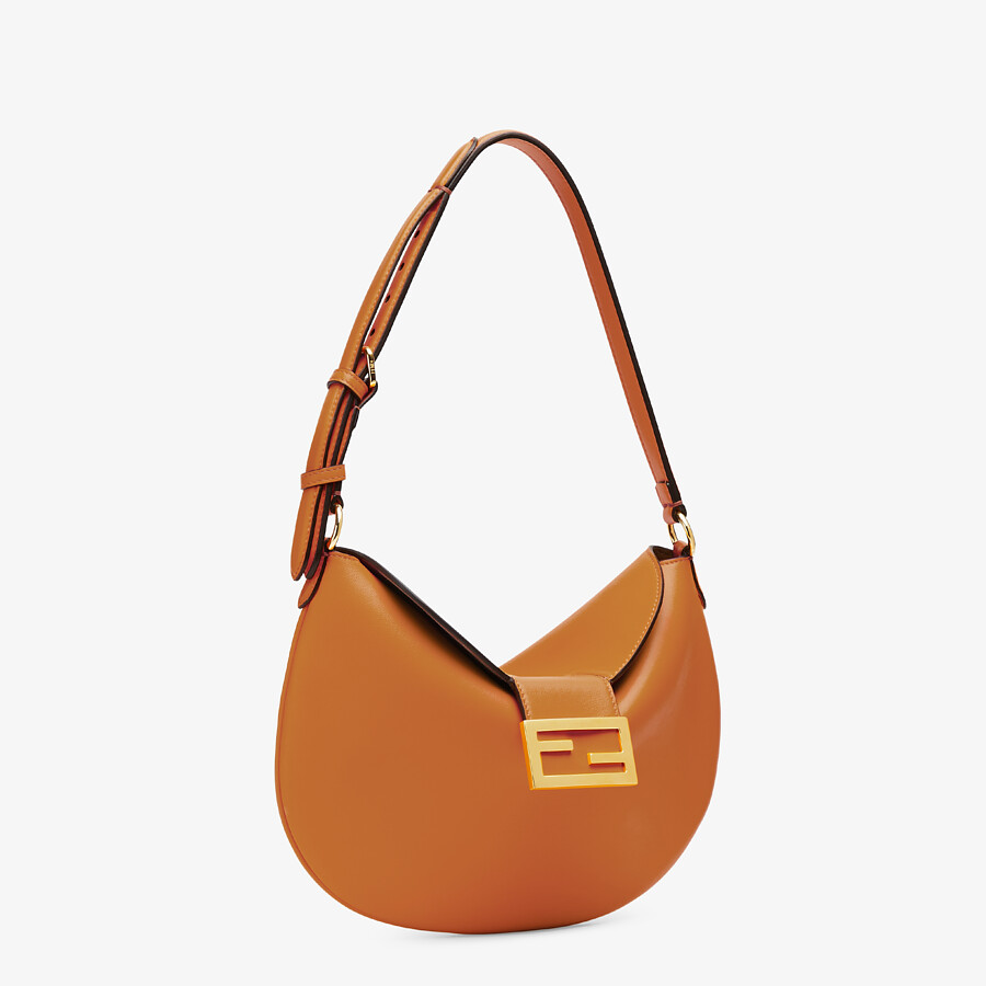 FENDI SMALL CROISSANT -  Brown leather bag - view 3 detail