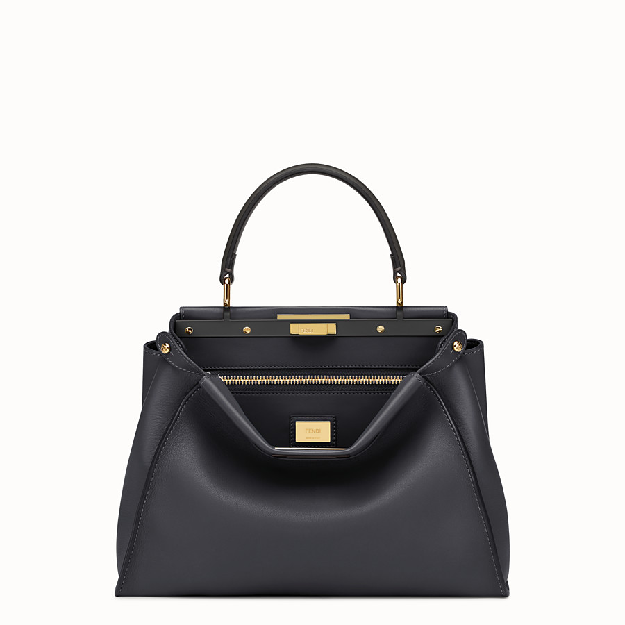 FENDI PEEKABOO REGULAR - Black leather handbag - view 1 detail