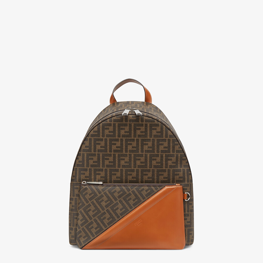 FENDI BACKPACK - Brown fabric backpack - view 1 detail