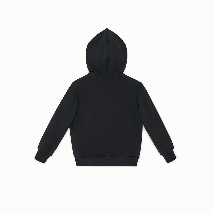 "FENDI ""EYES"" HOODIE - Black tech fabric sweatshirt - view 2 detail"
