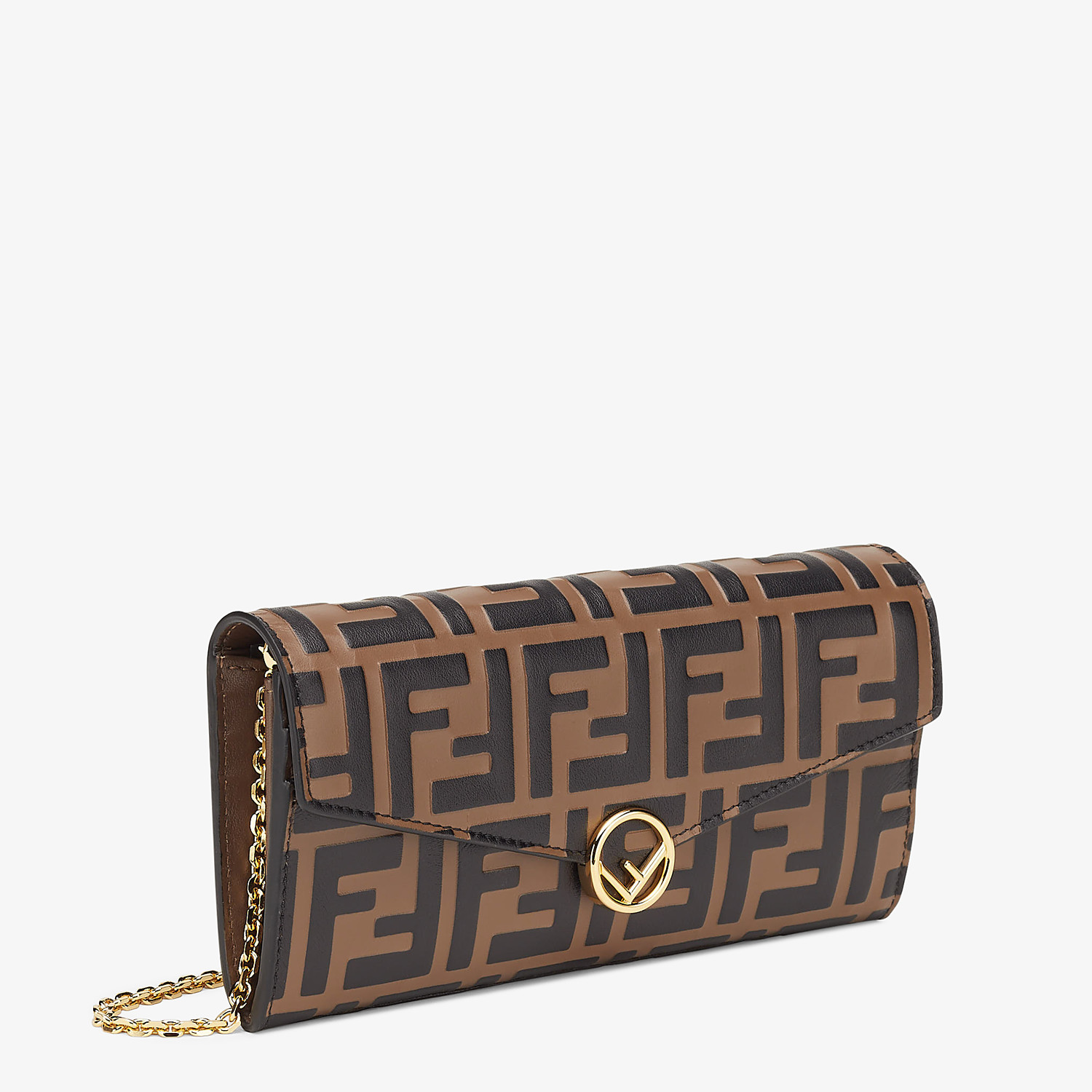FENDI CONTINENTAL WITH CHAIN - Brown leather wallet - view 2 detail