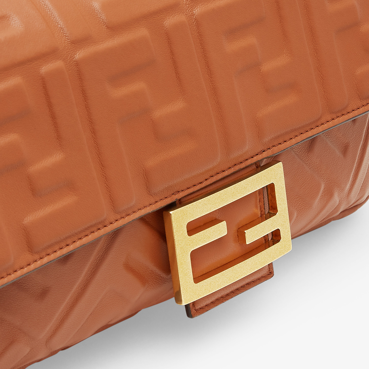 FENDI BAGUETTE - Brown nappa leather bag - view 6 detail