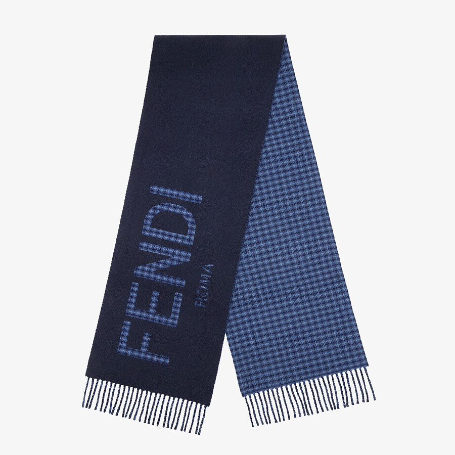 FENDI FENDI SCARF - Blue wool and cashmere scarf - view 1 detail
