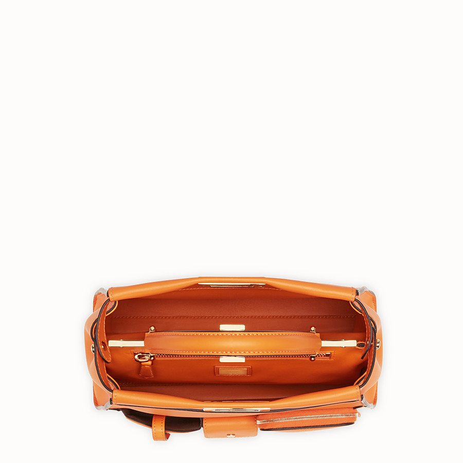 FENDI PEEKABOO REGULAR POCKET - Orange leather bag - view 5 detail