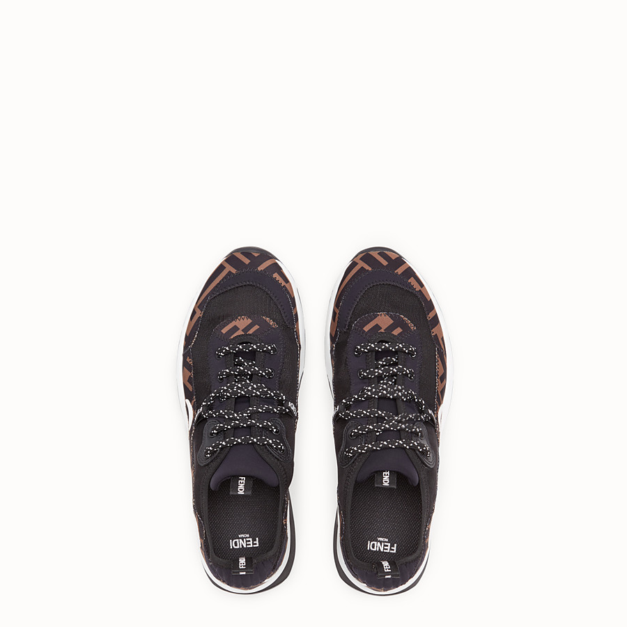 FENDI SNEAKERS - Brown technical mesh sneaker - view 4 detail
