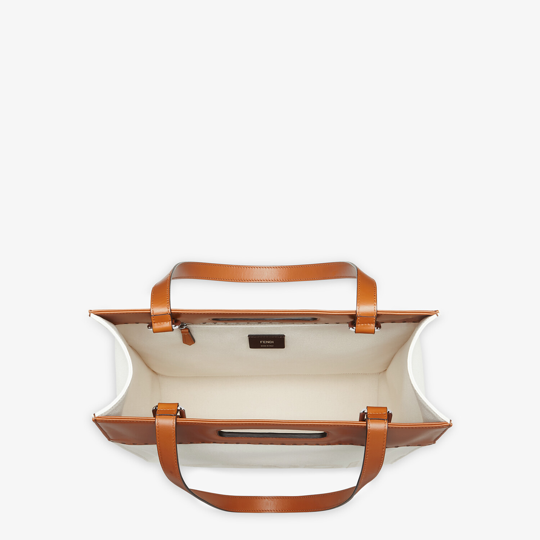 FENDI SHOPPING BAG - Beige canvas shopper - view 5 detail