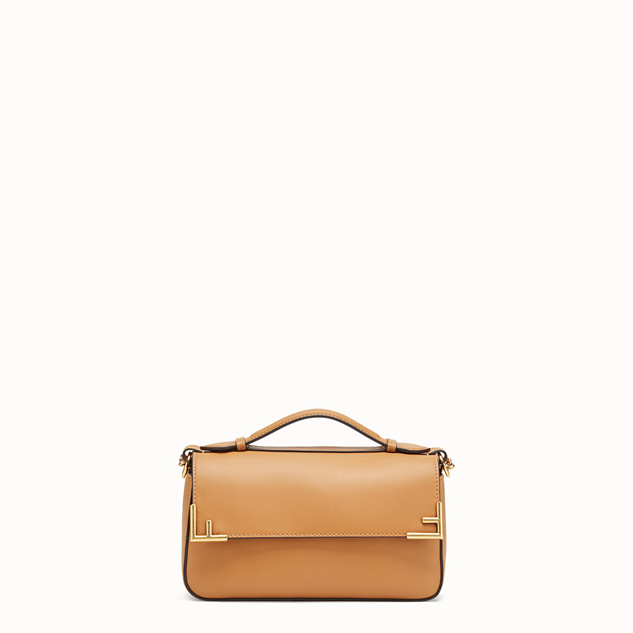 FENDI DOUBLE F SMALL - Brown leather and fabric bag - view 3 detail