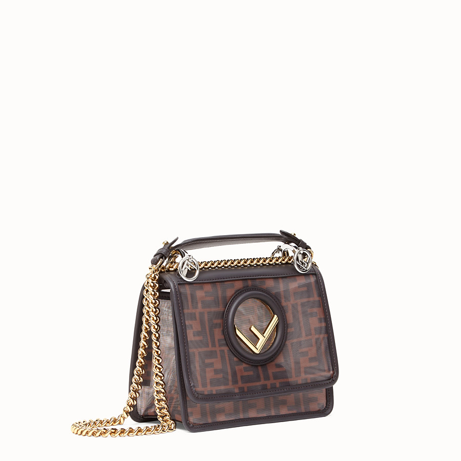 FENDI KAN I F SMALL - Brown tech mesh mini bag - view 3 detail