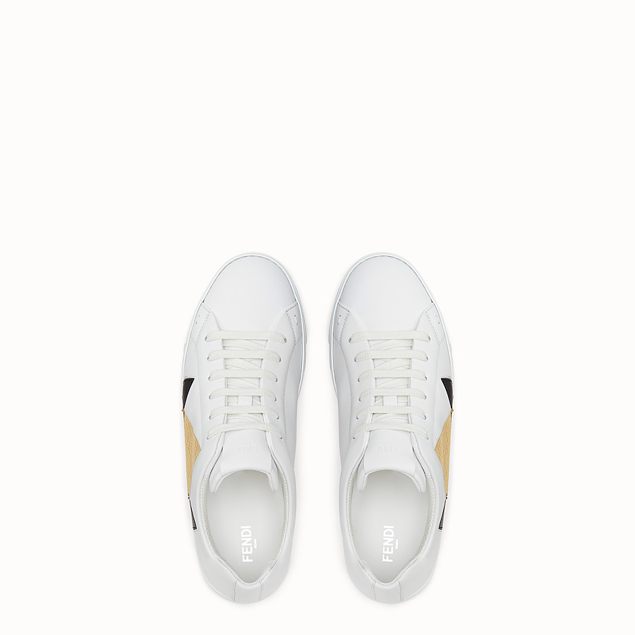 FENDI SNEAKERS - Chaussures basses en cuir blanc - view 4 detail