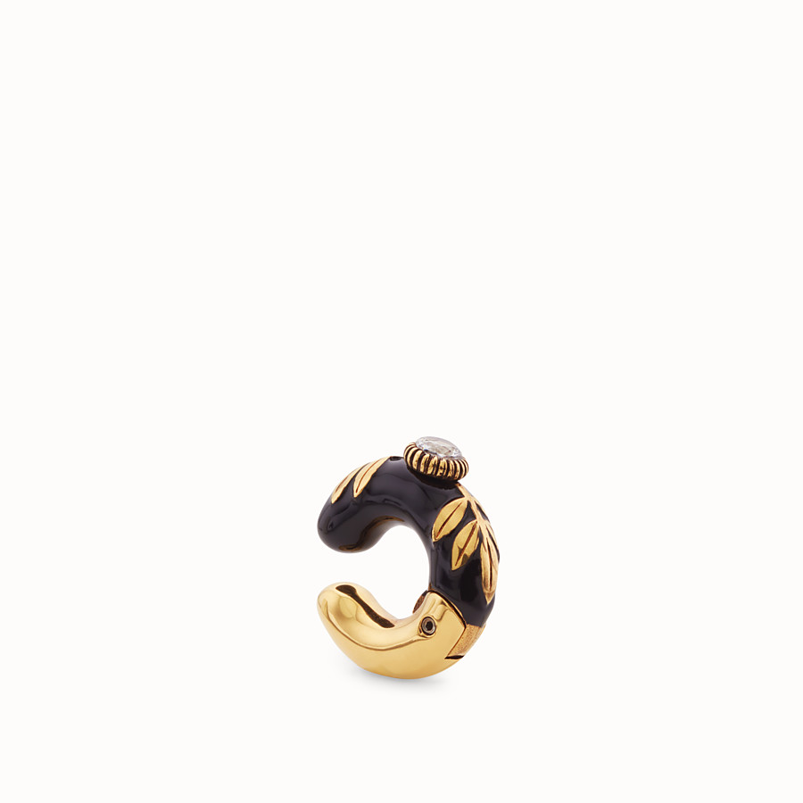 FENDI JULIUS CAESAR EARRING - Gold and black coloured earring - view 1 detail