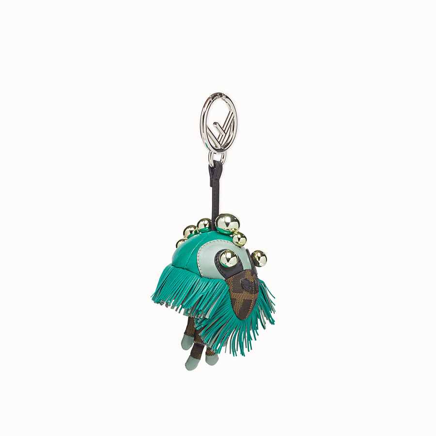 FENDI SPACE MONKEY - Multicolor leather and jacquard charm - view 1 detail