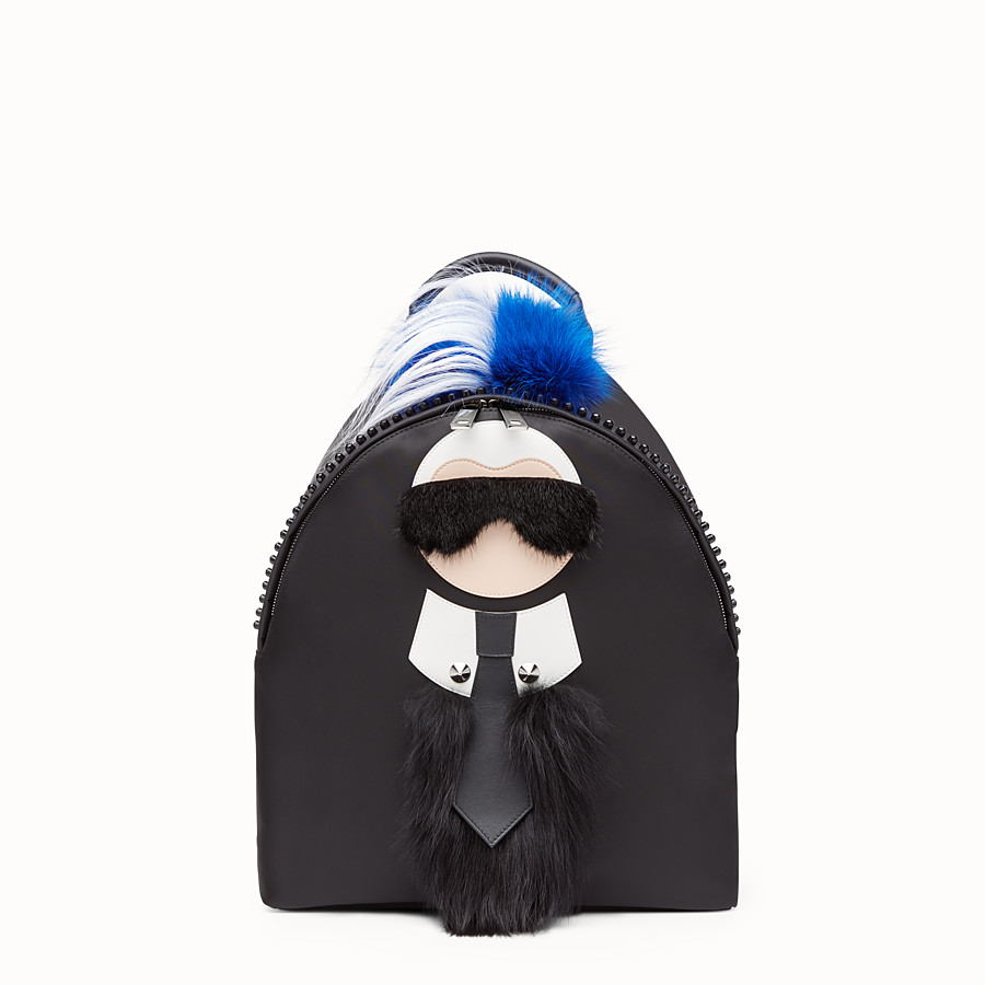 FENDI BACKPACK - in black nylon and fur - view 1 detail