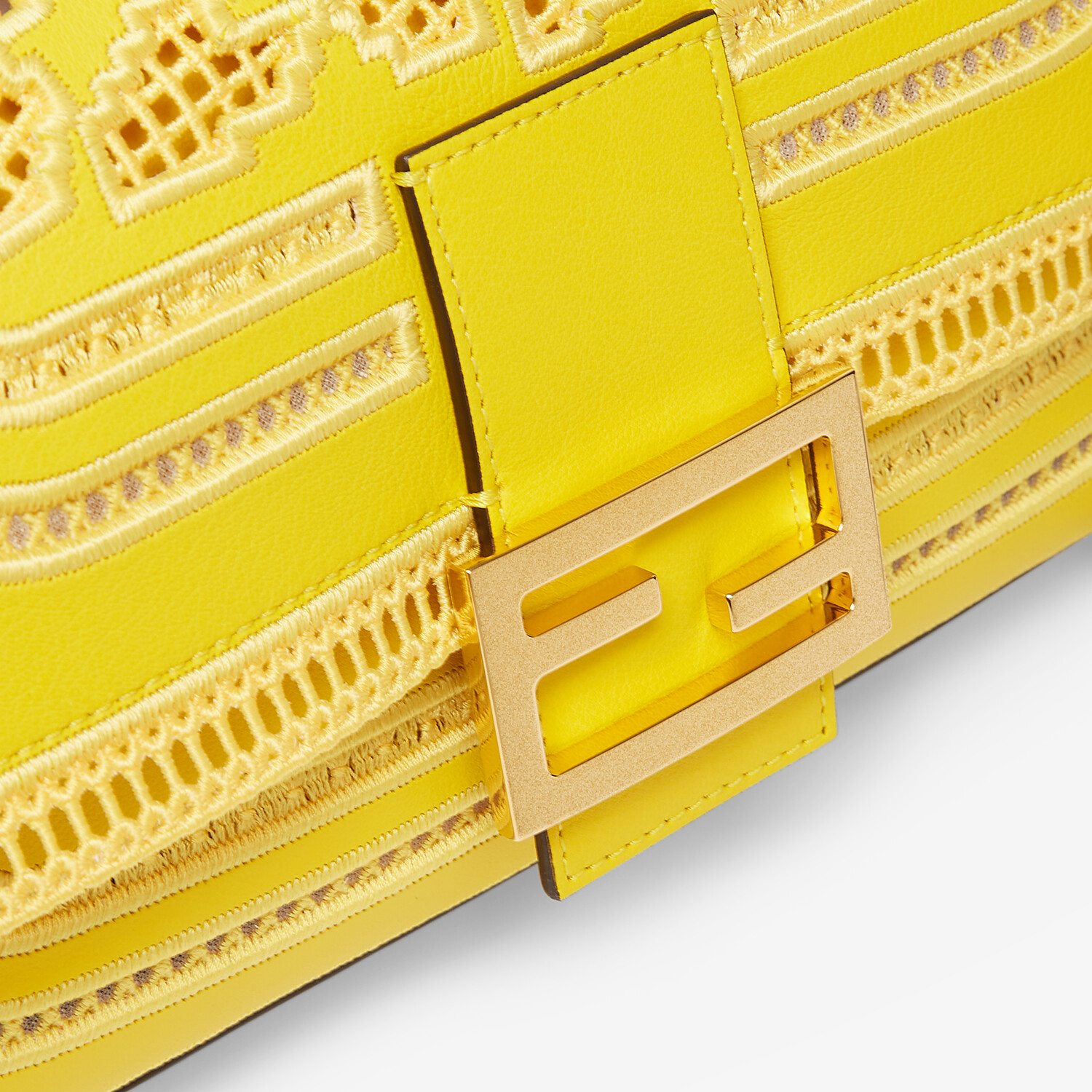 FENDI BAGUETTE CHAIN - Embroidered yellow leather bag - view 5 detail