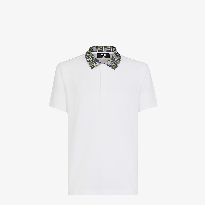 FENDI T-SHIRT - White cotton polo shirt - view 1 detail