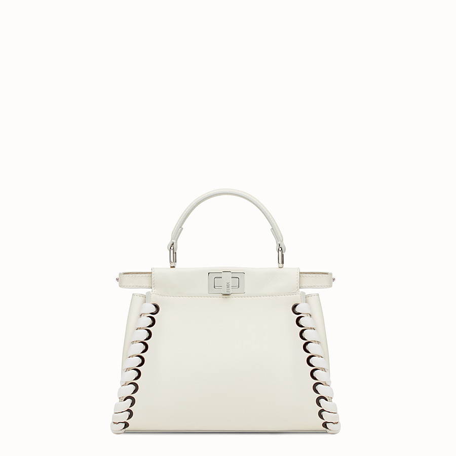 FENDI PEEKABOO MINI - White nappa handbag with weaving - view 1 detail