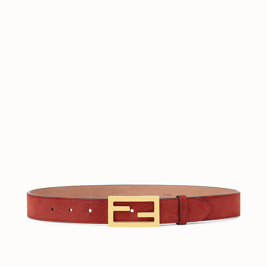 FENDI BAGUETTE BELT - Brown suede leather belt - view 1 detail