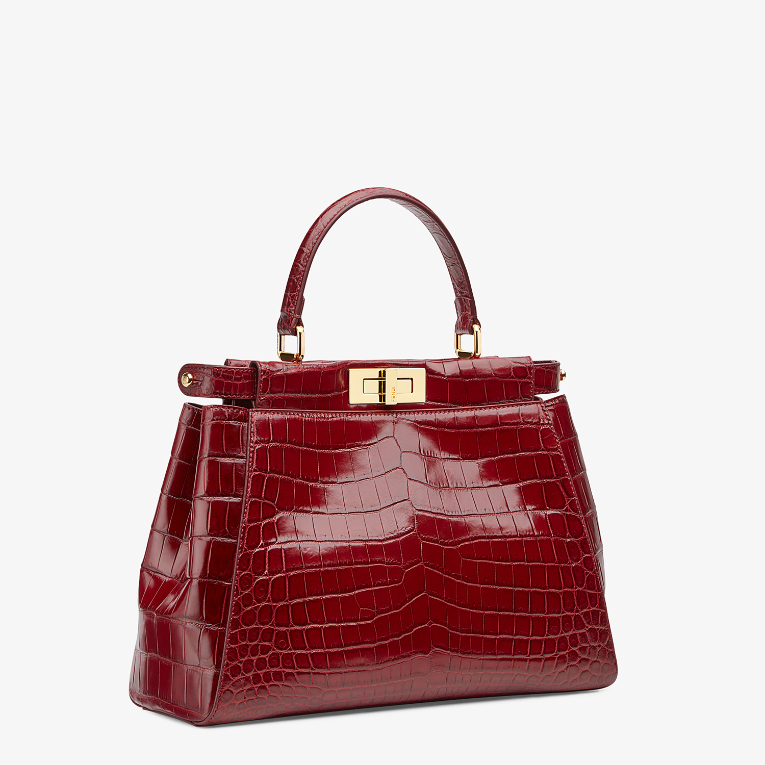 FENDI PEEKABOO ICONIC MEDIUM - Red crocodile leather handbag. - view 2 detail
