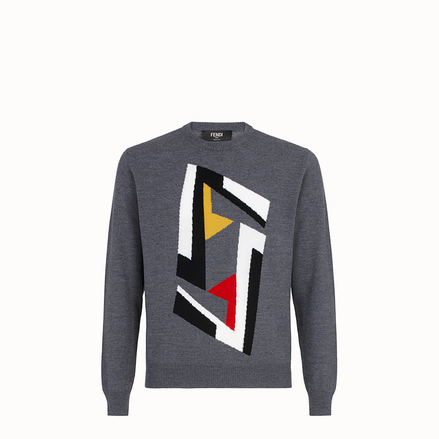 FENDI PULLOVER - Grey wool jumper - view 1 detail