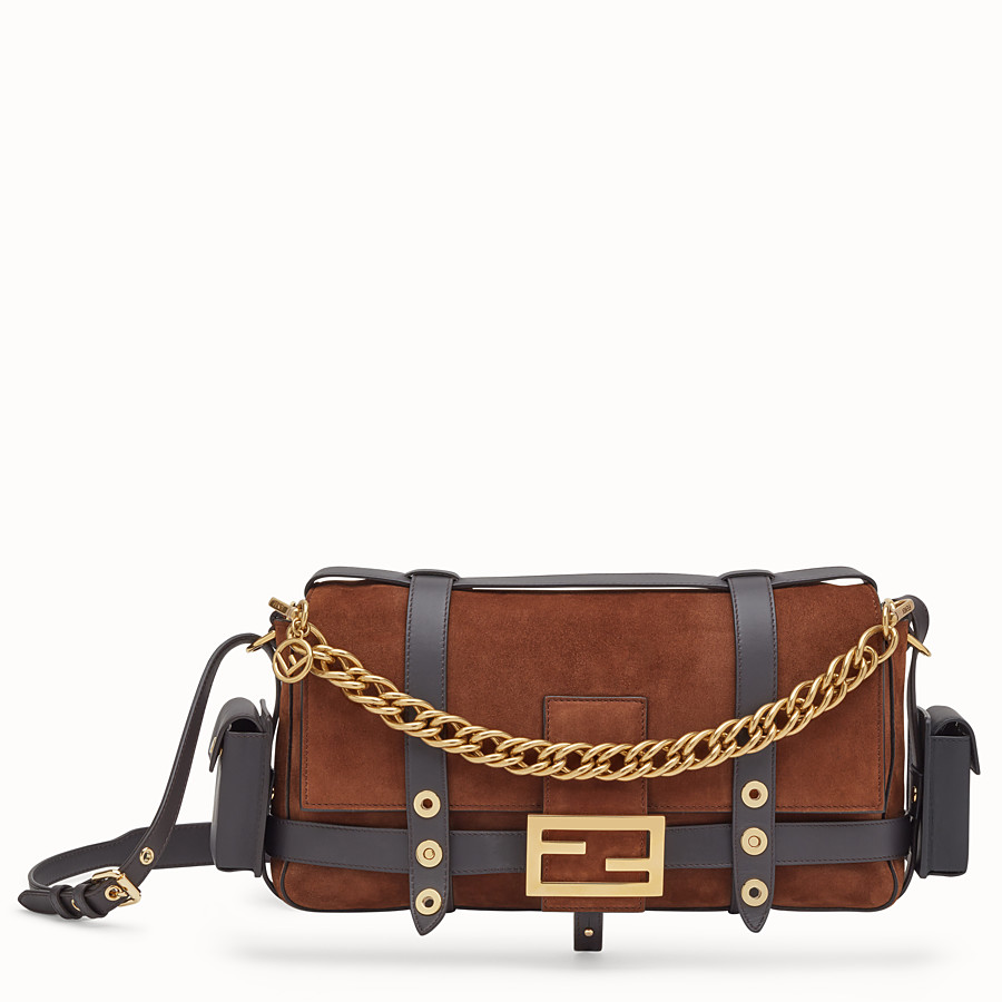FENDI BAGUETTE WITH CAGE - Brown suede bag - view 1 detail