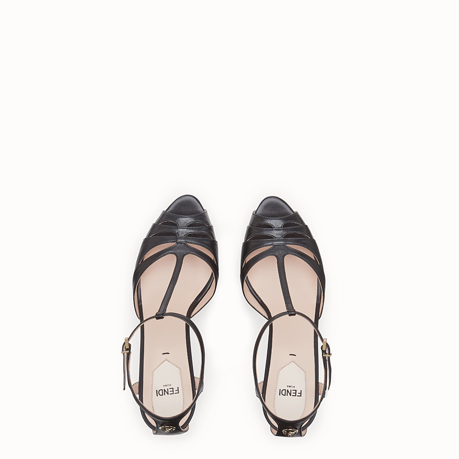 FENDI SANDALS - Black leather high sandals - view 4 detail