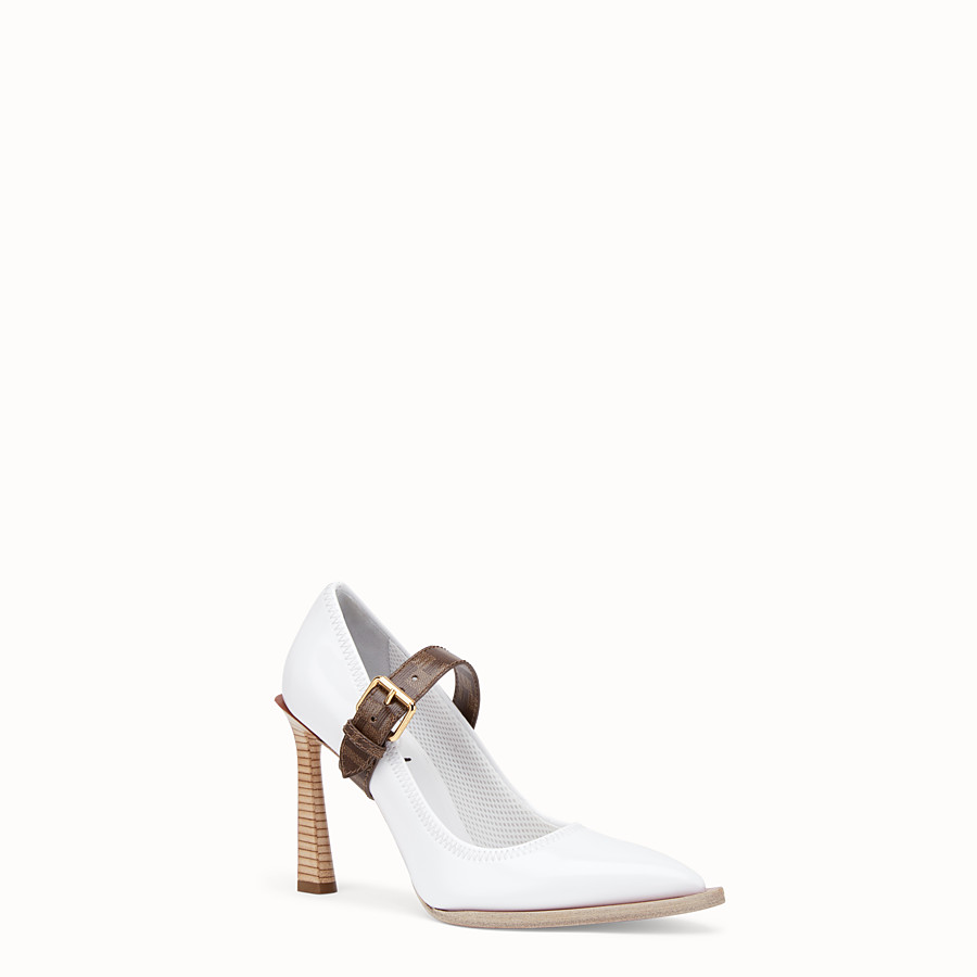 FENDI COURT SHOES - Mary Jane in glossy white neoprene - view 2 detail
