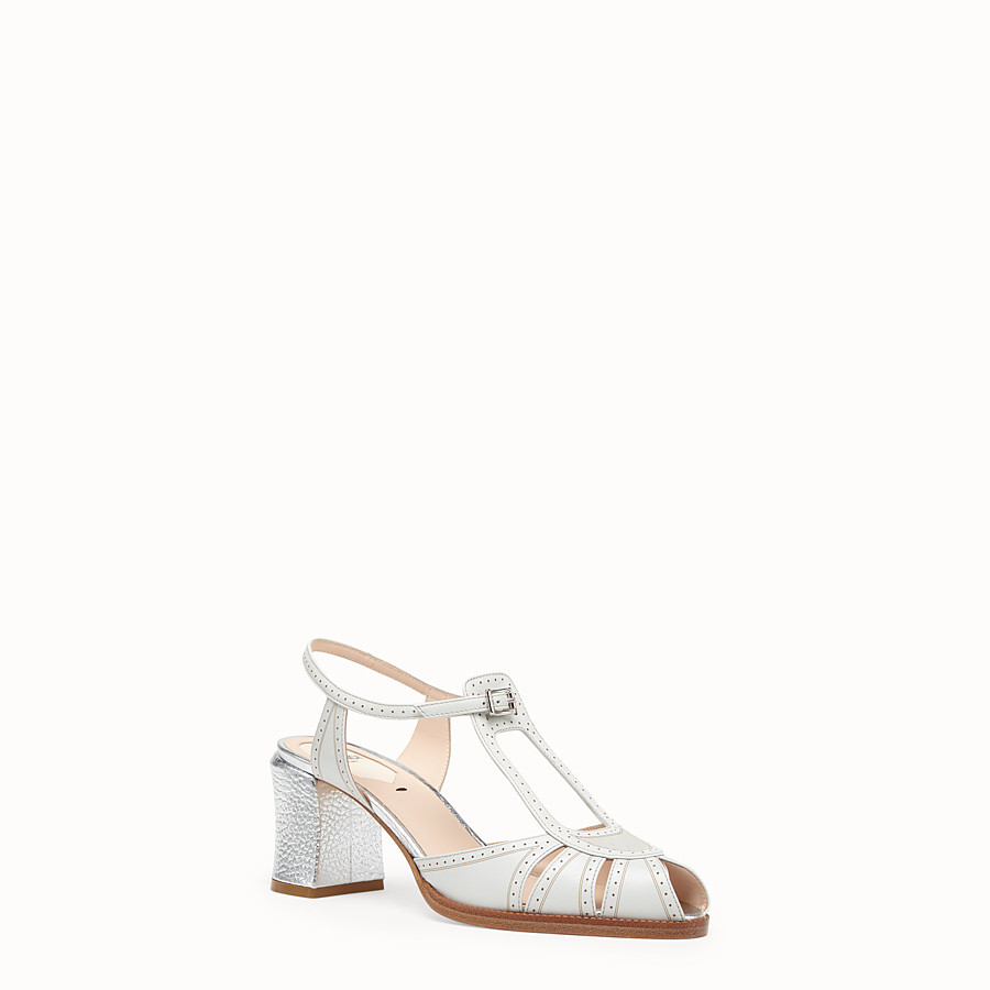FENDI SANDALS - Grey leather sandals - view 2 detail
