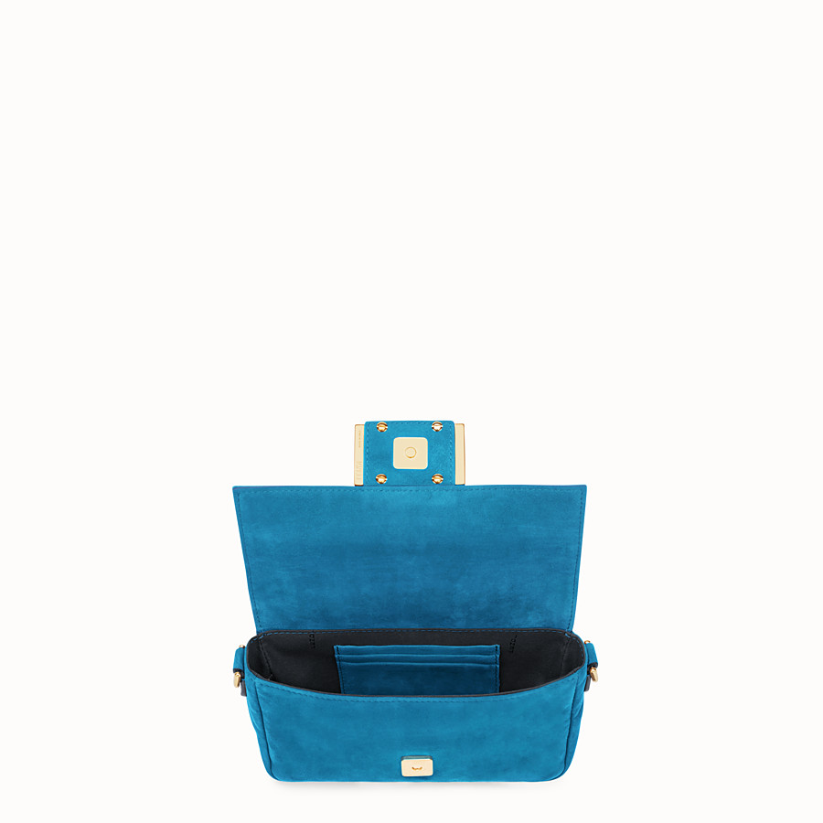 FENDI MINI BAGUETTE - Blue suede bag - view 4 detail