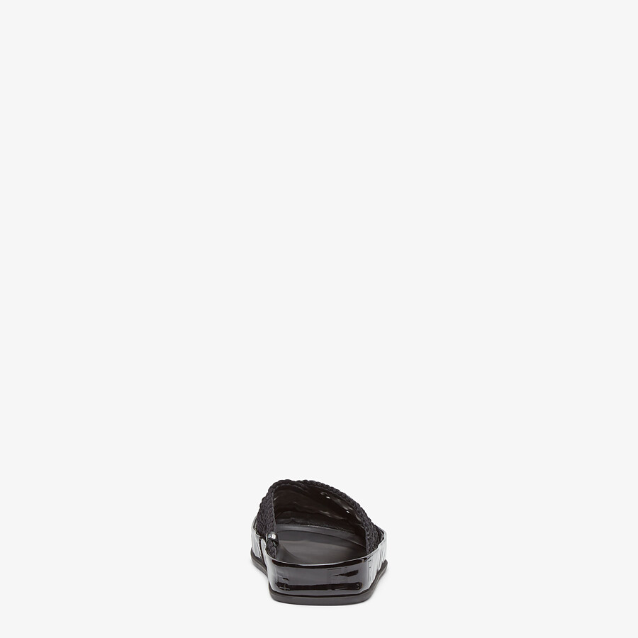 FENDI FENDI REFLECTIONS SLIDES - Black stretch lace flats - view 3 detail