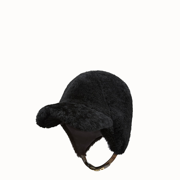FENDI HAT - Black shearling hat - view 1 small thumbnail