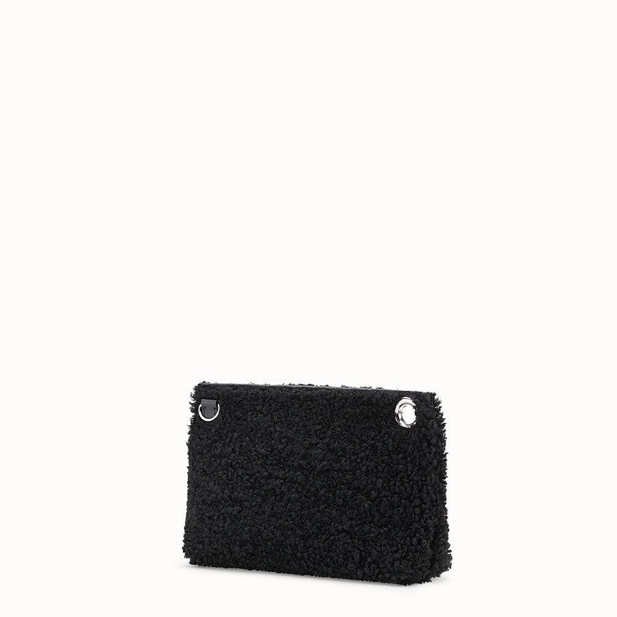 FENDI MEDIUM PYRAMID - Black shearling pouch - view 2 detail