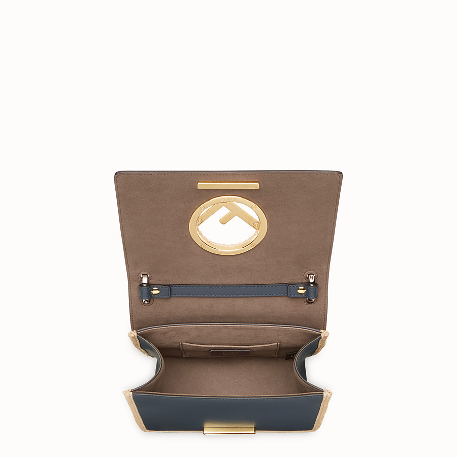 FENDI KAN I F SMALL - Beige leather mini-bag with exotic details - view 4 detail