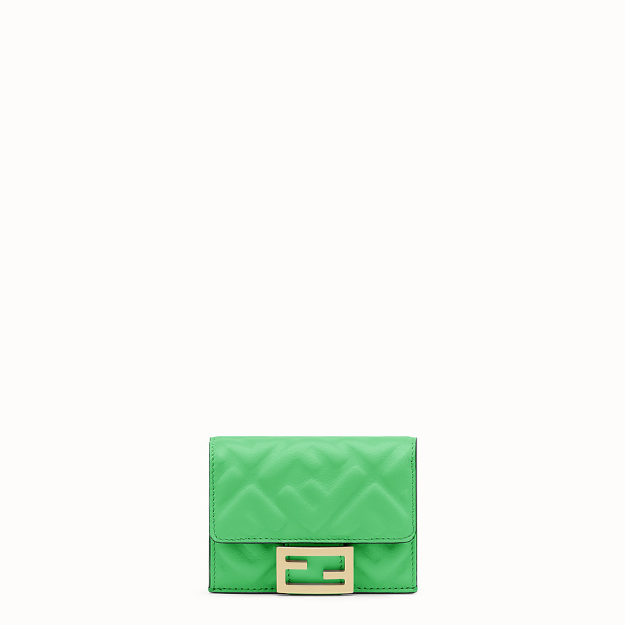FENDI MICRO TRIFOLD - Green nappa leather wallet - view 1 detail