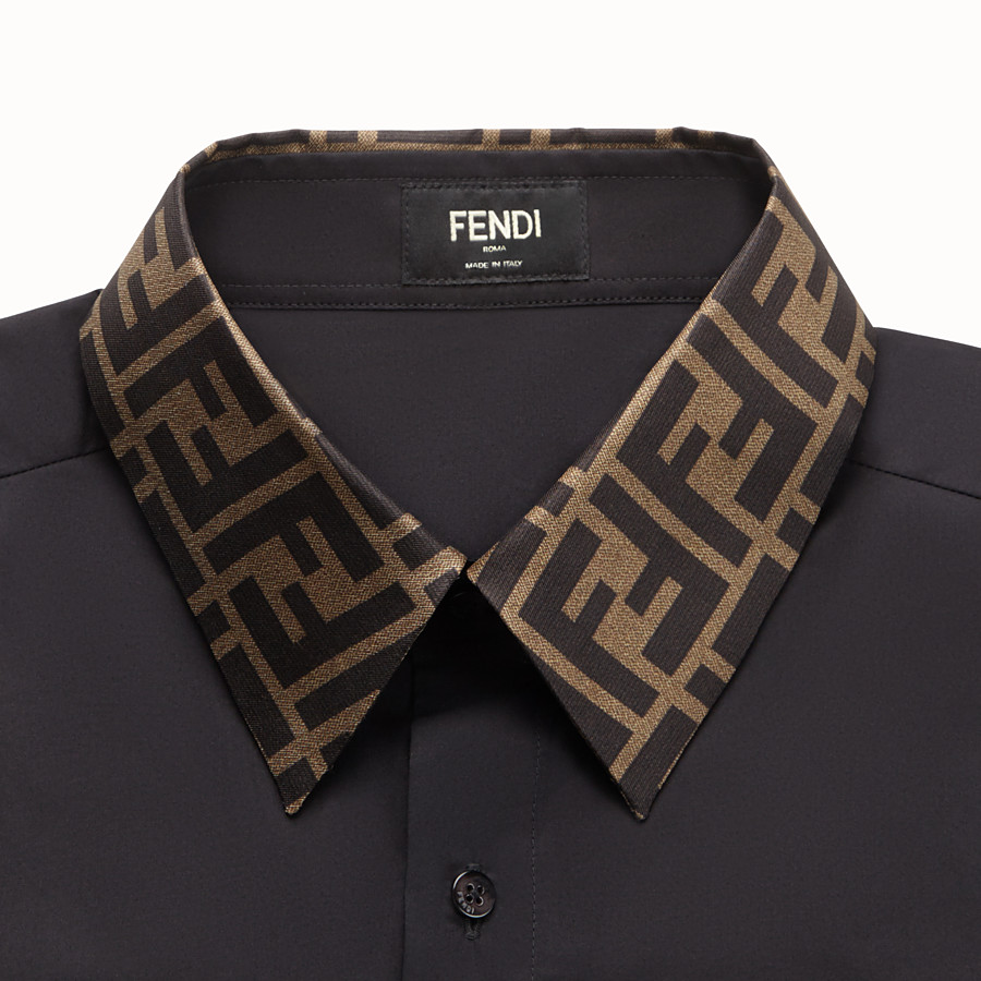 FENDI SHIRT - Black cotton shirt - view 3 detail