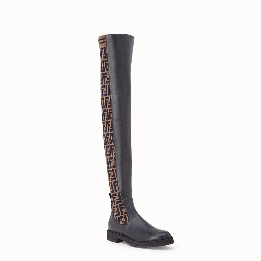FENDI BOOTS - Black leather thigh-high boots - view 2 detail