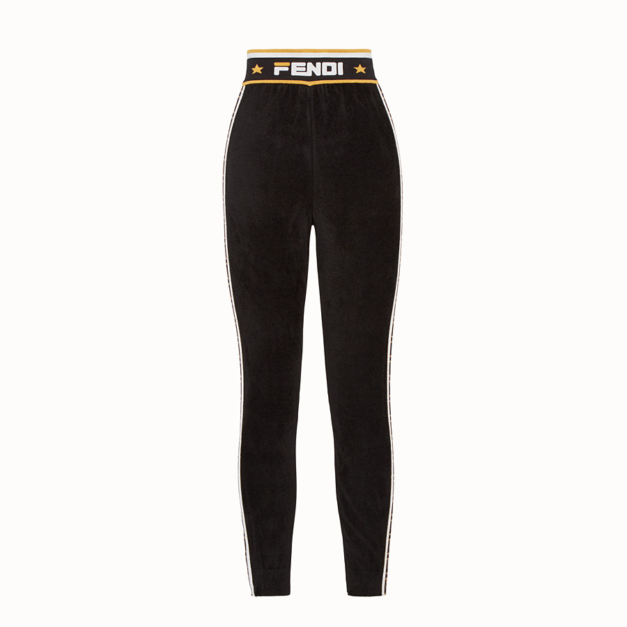 FENDI LEGGINGS - Black fabric trousers - view 2 detail