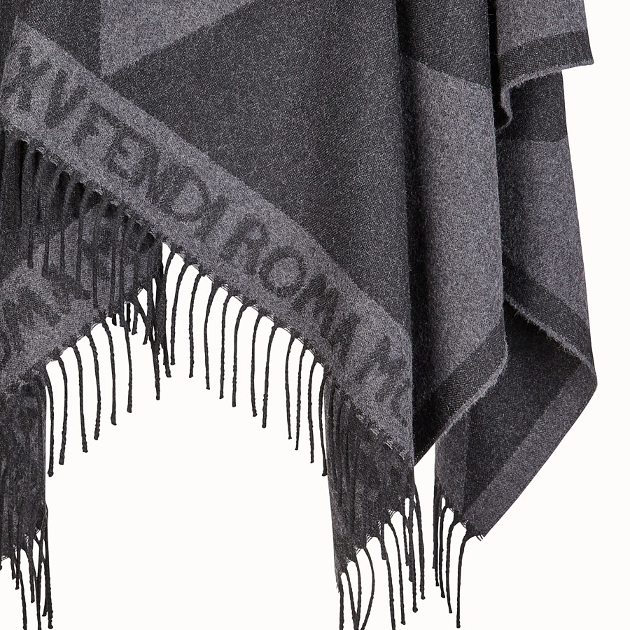 FENDI TOUCH OF FUR PONCHO - Black wool poncho - view 3 detail
