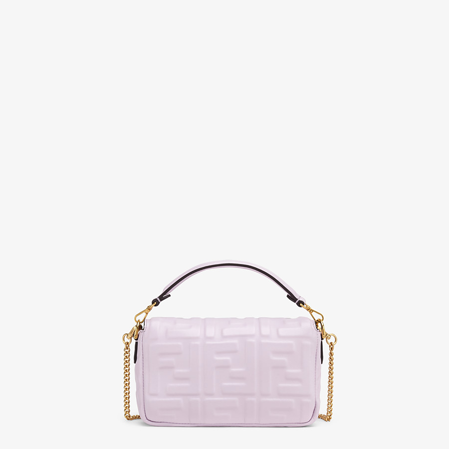 FENDI BAGUETTE - Lilac nappa leather FF Signature bag - view 4 detail
